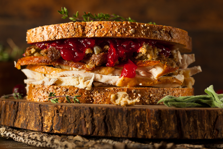 Thanksgiving sandwich with turkey, stuffing and cranberry sauce.