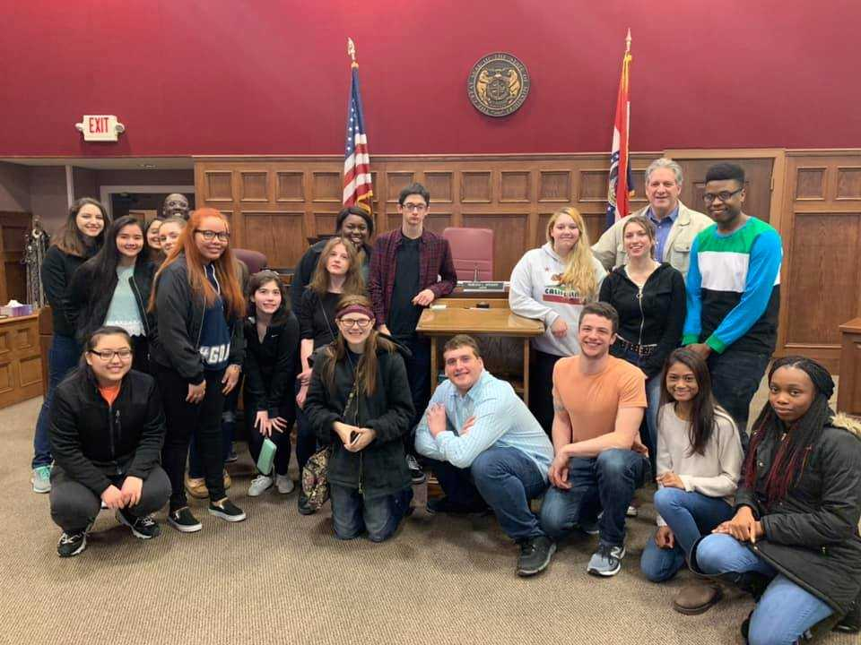 Students visiting the local courthouse in St. Joseph, Missouri on their 2019 Al…
