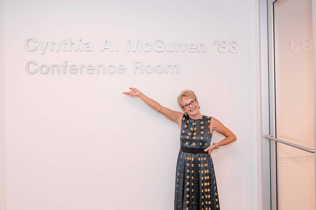 Cynthia McGurren '83 at the conference room named in her honor in the Salem Sta…