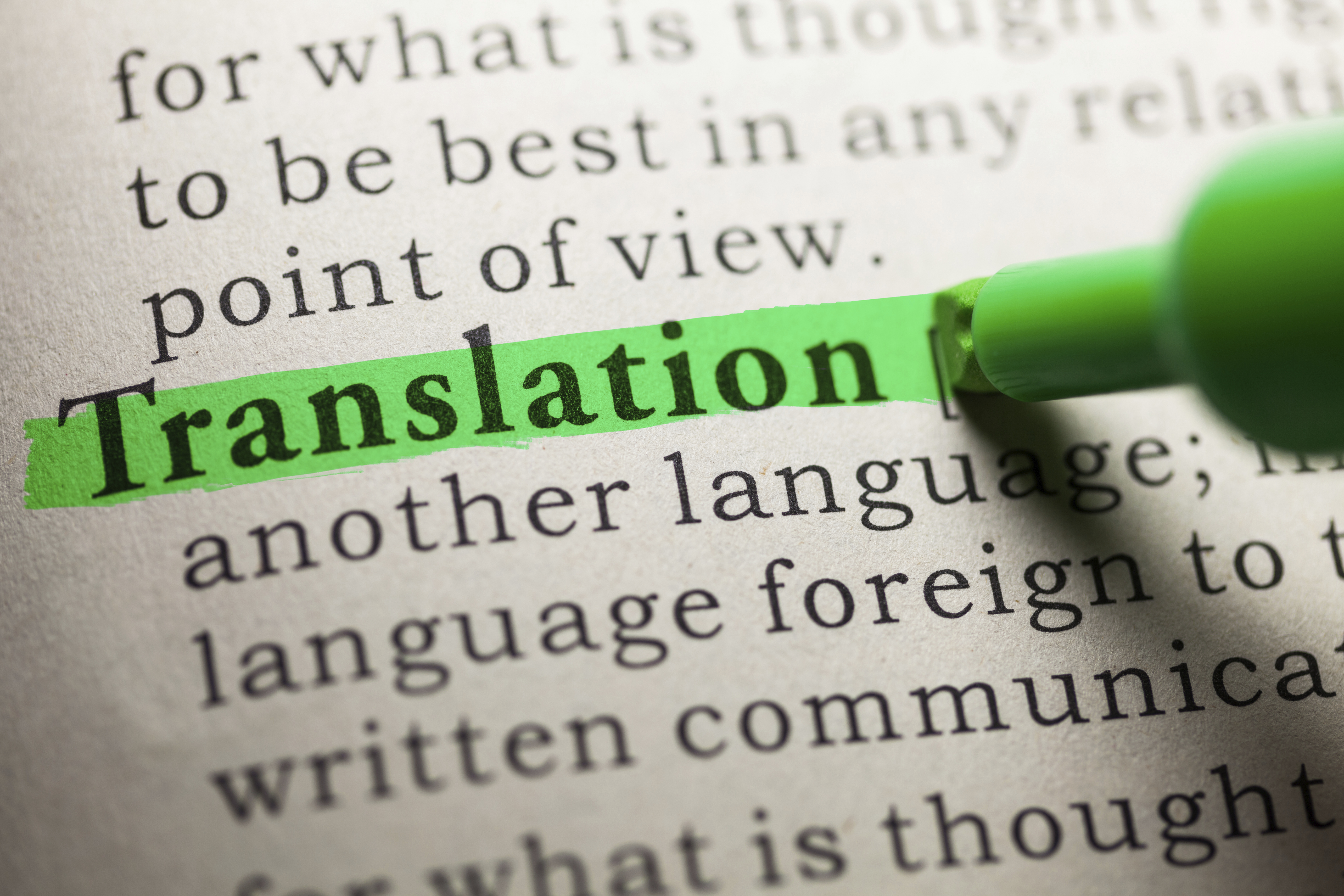the word translation highlighted on a page