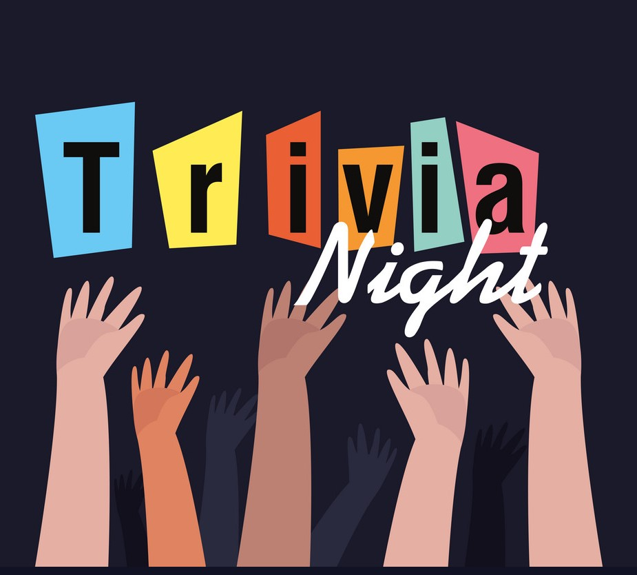 Hands raised in front of trivia night graphic