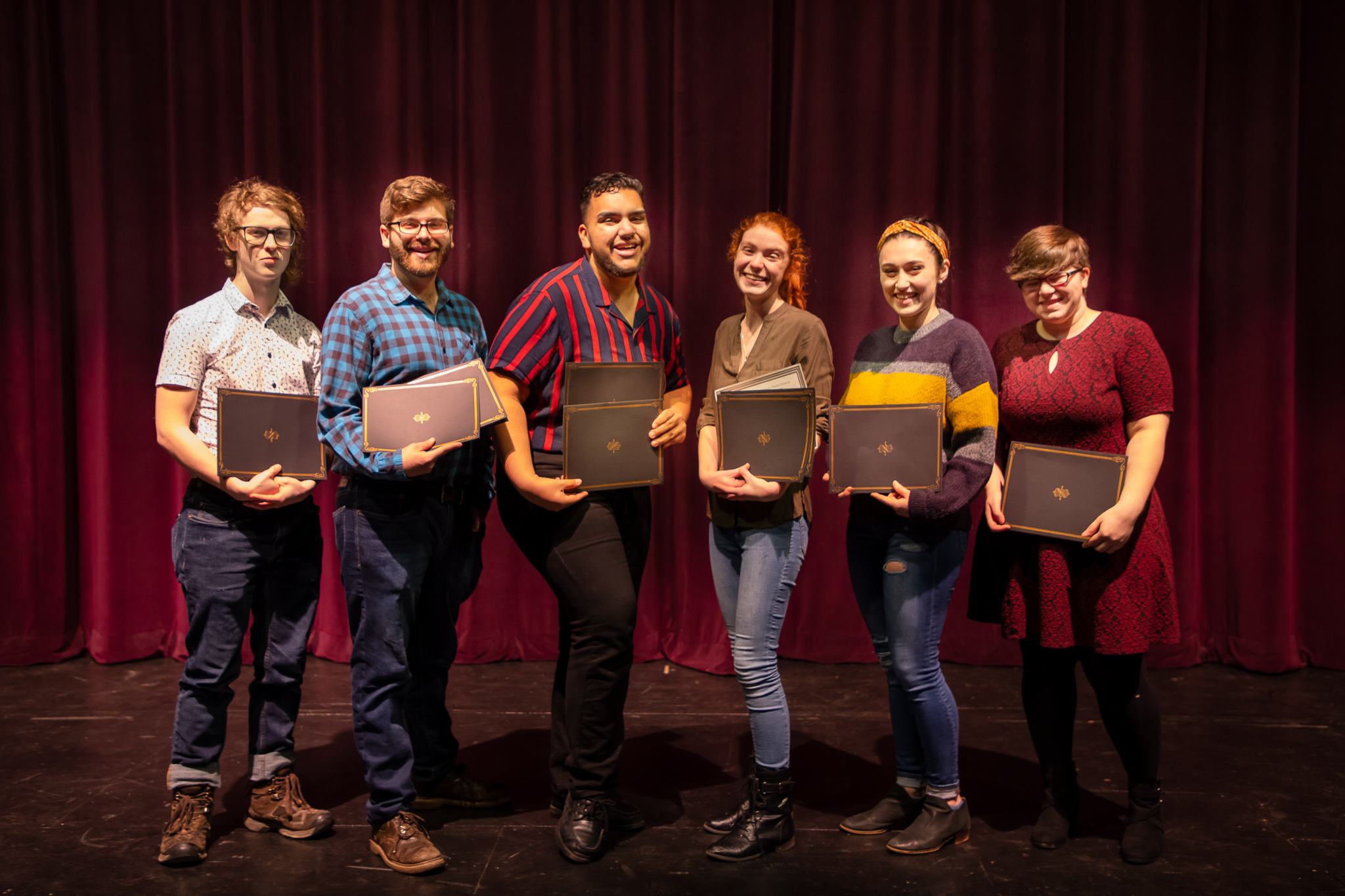 Pictured: Six out of seven of the KCACTF Region 1 winners and finalists.