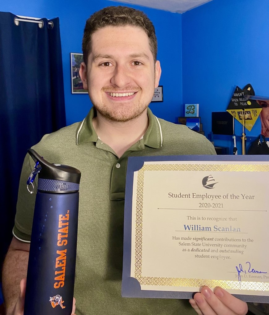Image includes William Scanlan holding a certificate for the 2020-2021 Student …