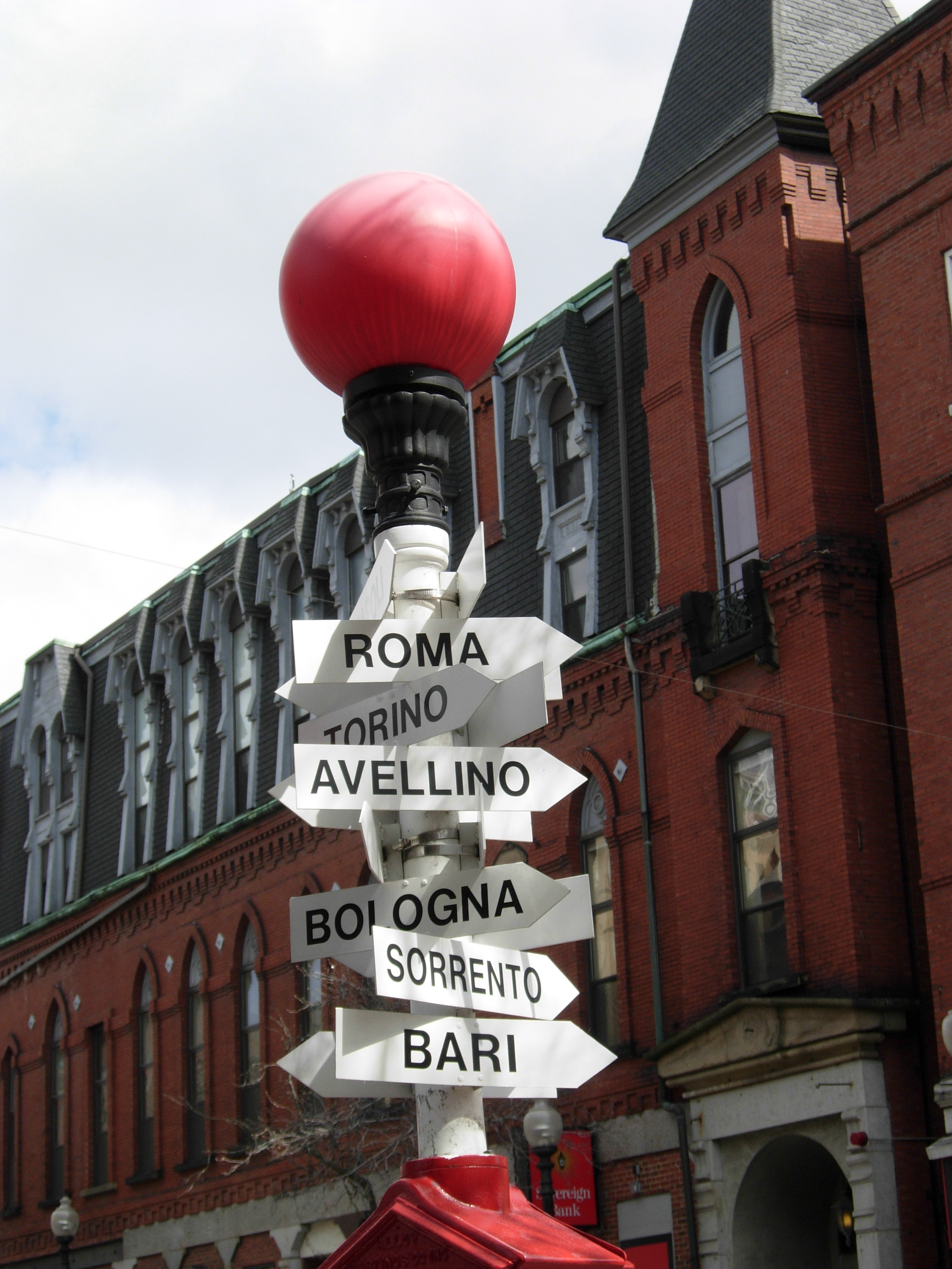 Signs pointing to Italian cities, in Boston's North End