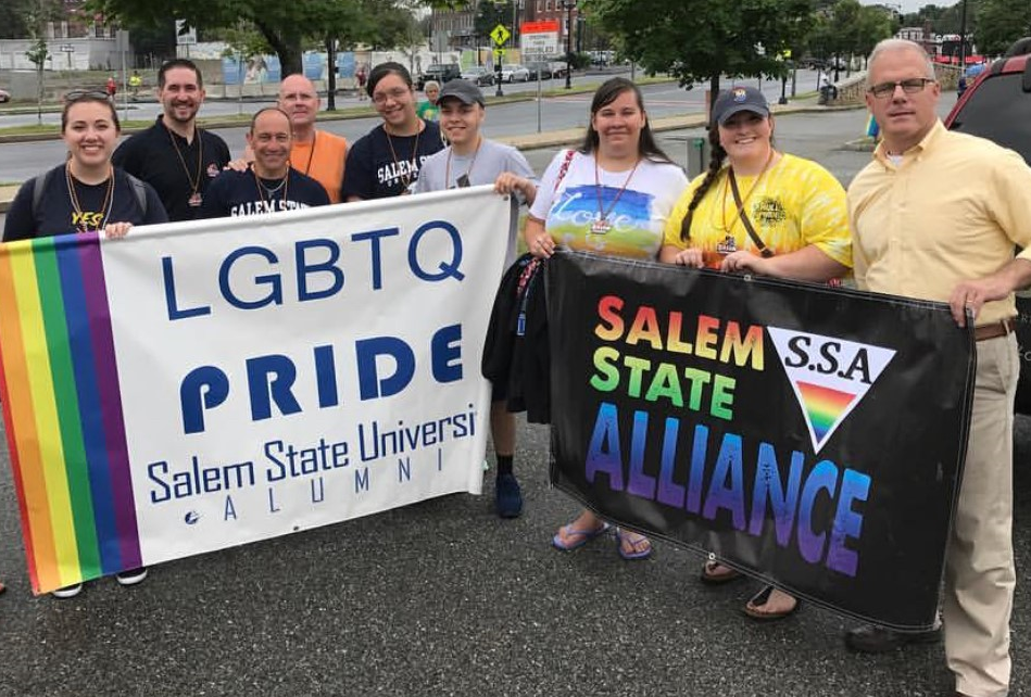 2018 North Shore Pride Salem State University Banner carriers with President Jo…