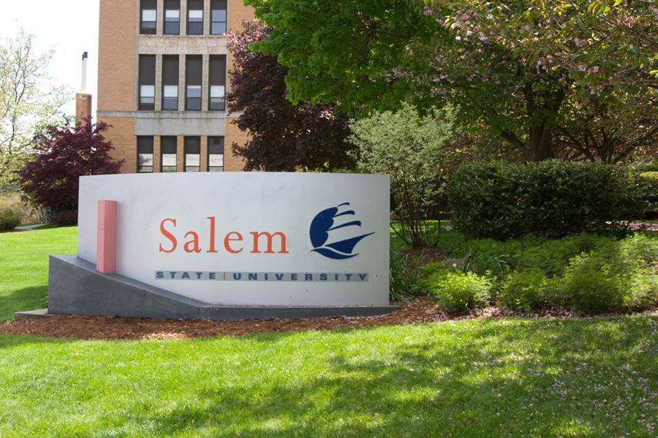 Salem State University North Campus sign in front of the the Sullivan builiding