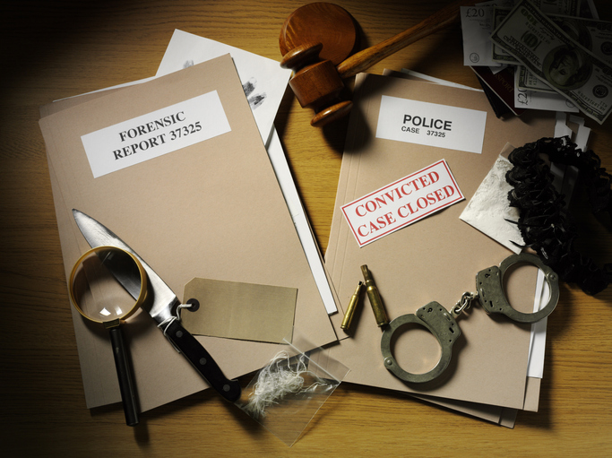 Murder mystery props (forensic files folder, magnifying glass, knife)