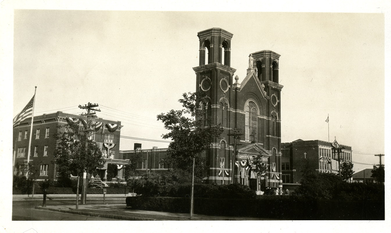 Historic street view of St. Joseph's Church in Salem.