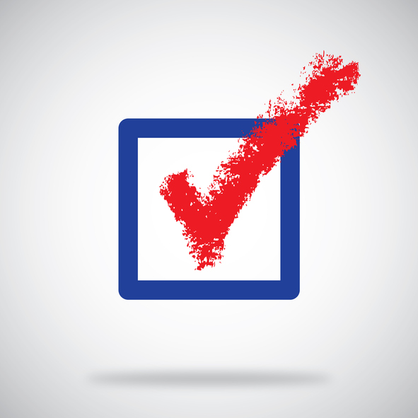 Ballot box with a red check mark