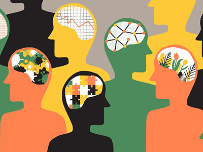 Colorful graphic of a group of people detailing the complexity of the mind