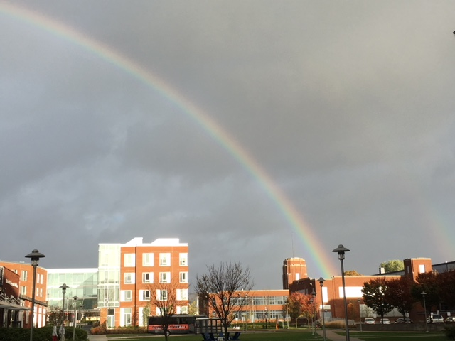 Rainbow over Central Campus buildings