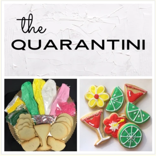 """The """"Quarantini"""" Cookie Kit, featuring Cookies, Frosting Bags and Colored Sprin…"""
