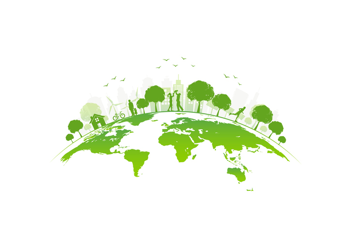 Ecology concept with green city on earth, World environment and sustainable dev…