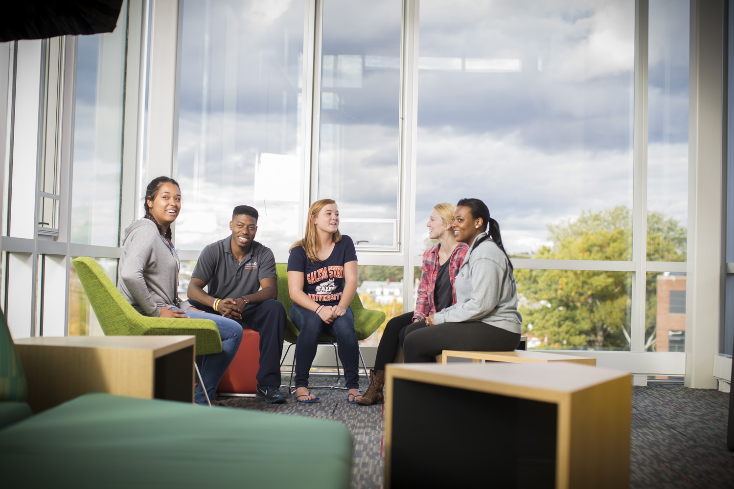 Students gather together in the common area of Viking Hall.