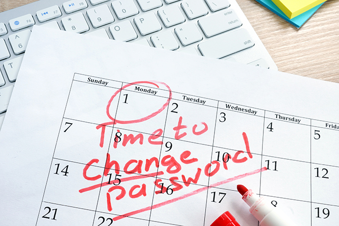 """Time to change password"" circled on a calendar"