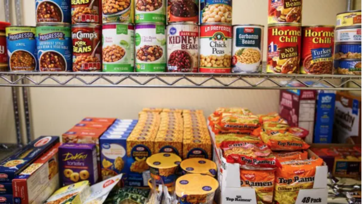 Items on the shelves at the Salem State University Food Pantry