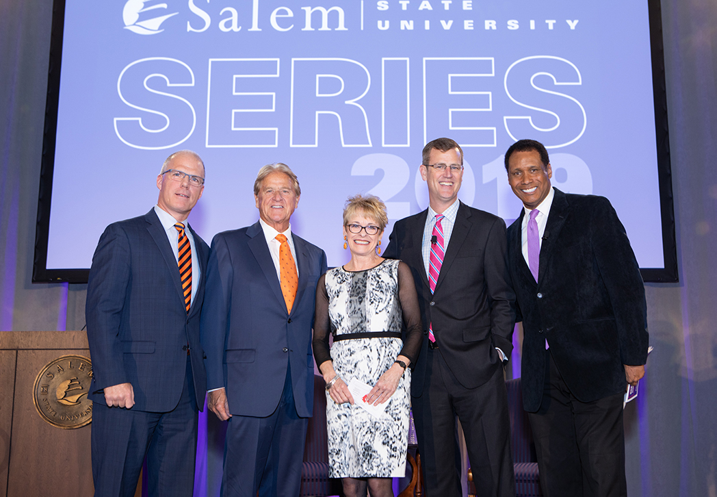 Cynthia McGurren '83 at the Salem State Series in April 2019 with (L to R): Pre…