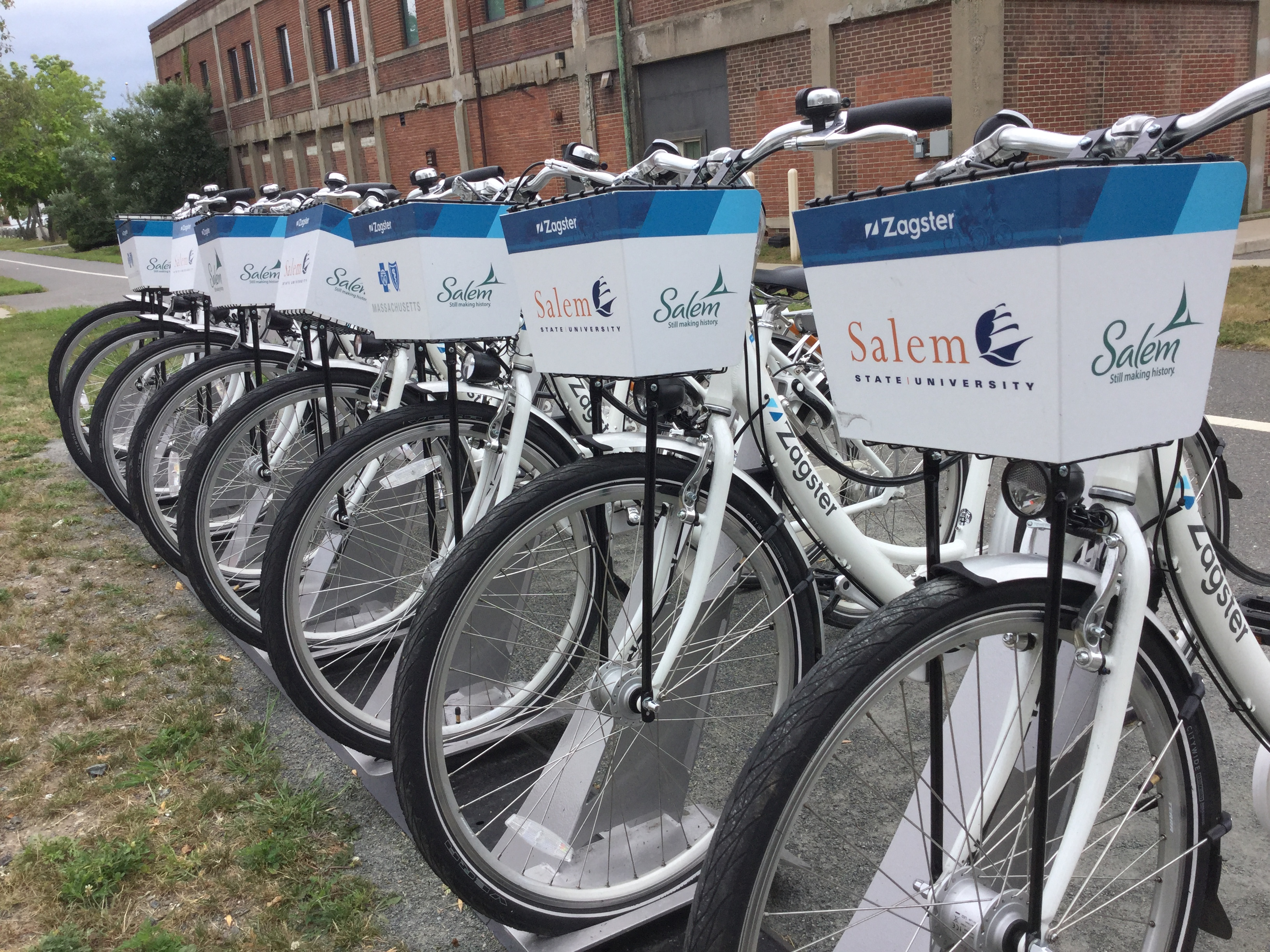 Zagster bike station on Salem State's Central Campus