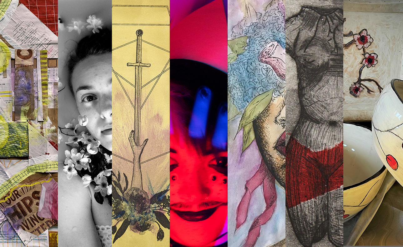 A collage of winning art projects from the 2021 Art + Design student awards.